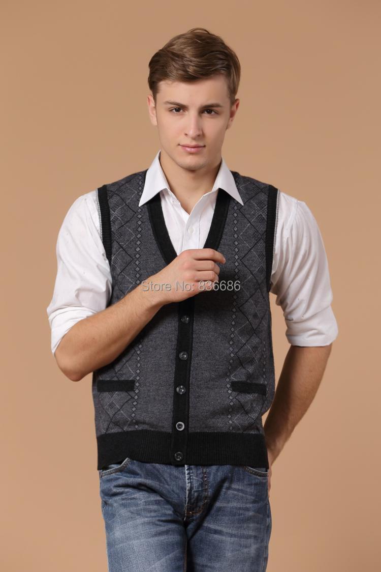 New autumn casual man v neck argyle cashmere cardigan vest button ...