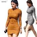 Vestidos 2016 Vestidos de Festa de Couro Sintético de Camurça Sexy Clube Kylie Jenner Vestido Mulheres Inverno Manga Comprida Bodycon Vestido Bandage