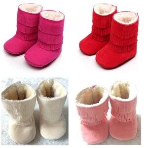 Зимние рождественские ботинки для маленьких девочек 2020, замшевые однотонные ботинки с меховой бахромой для малышей, обувь для новорожденны...
