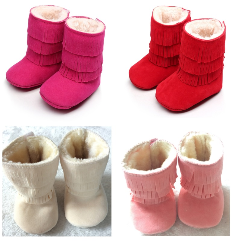 2018 Winter Christmas Baby Girls Snow Boots Fur Fringe Suede Solid Baby Shoes Newborn First Walkers 10-15cm Pink Red Beige Shoe