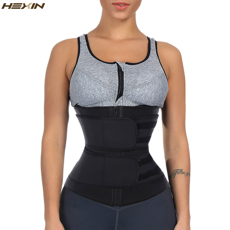 d1171d1fe27b HEXIN cinturón doble cintura entrenador cuerpo moldeadores Fitness látex  cintura entrenador cremallera Shapewear adelgazante cinturón Fajas  Colombianas