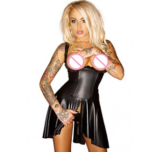 Exotic Cupless Vinyl Dresses Women Summer Fetish Leather Crotchless Clubwear Sexy Lace Up Back Pleated Wet Look Corset Dress