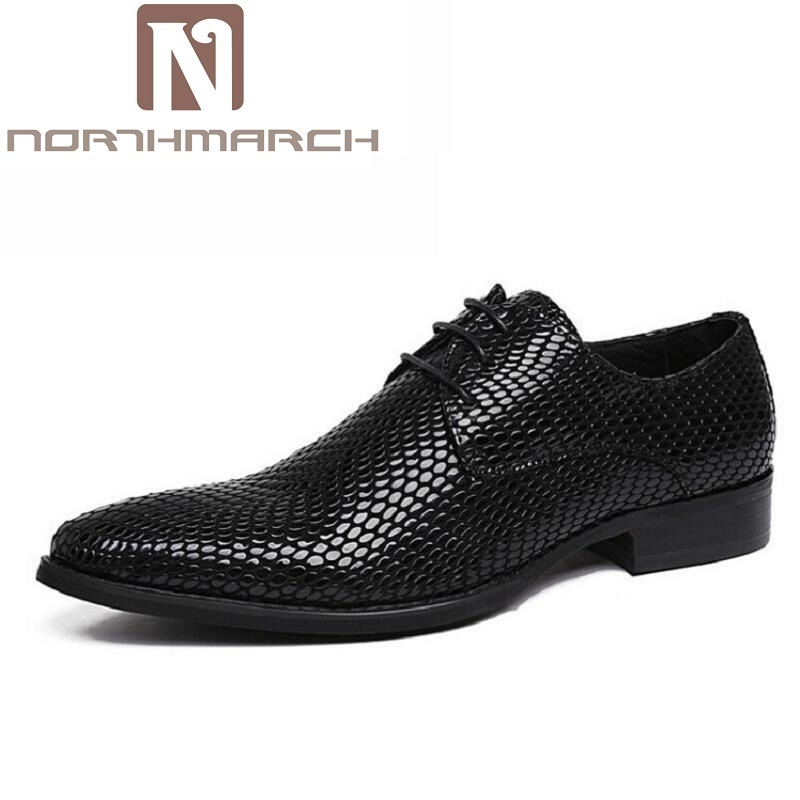 NORTHMARCH Vintage Genuine Leather Men Business Shoes Black Leather Pointed Toe Dress Shoes Mens Wedding zapatos de los hombres choudory new winter men ankle italian shoes men leather shoes pointed toe mens black dress shoes sequined toe spiked loafers men