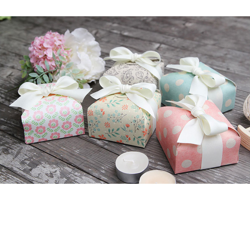 Polka Dot Green Flower Pink Paisley Paper Box For Decorations Paper Bags For Candy Candy Box Wedding Decorations Baking