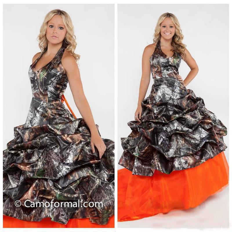 Licou Camo Camouflage robes de mariée Orange Tulle jupe véritable arbre robes de mariée personnalisé à lacets dos drapé robes de mariée