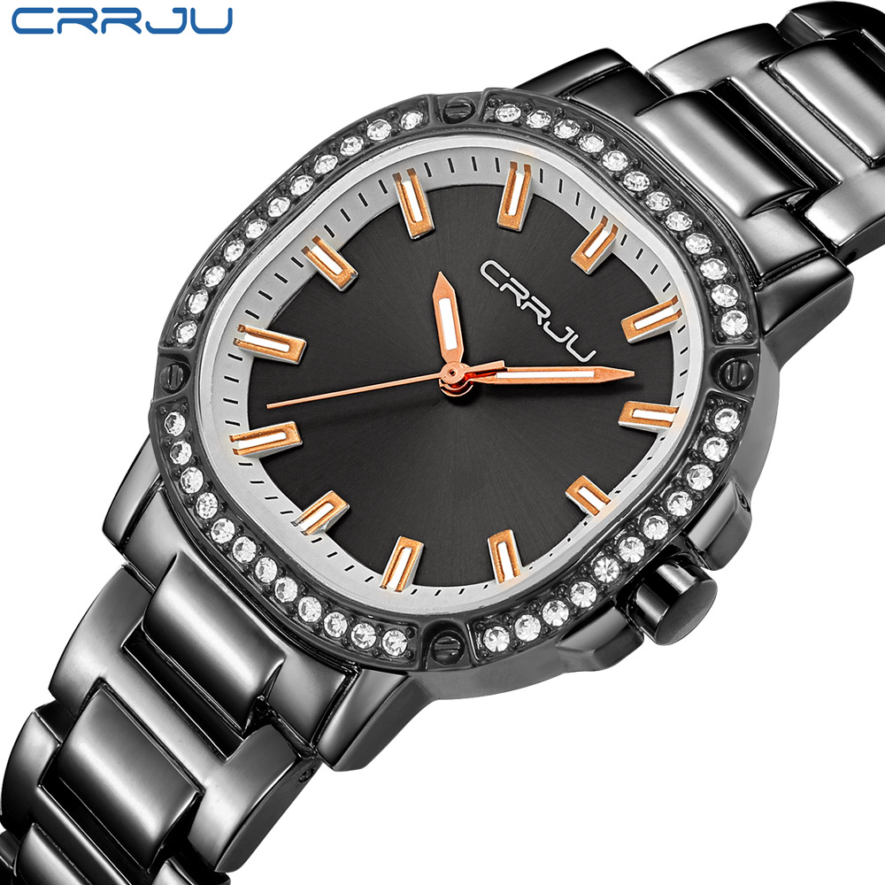 CRRJU Newest Japan Brand Women Watches Modern Retro Waterproof Ladies Watches Crystal Rose Gold Stainless Steel Montre Femme-in Women's Watches from Watches