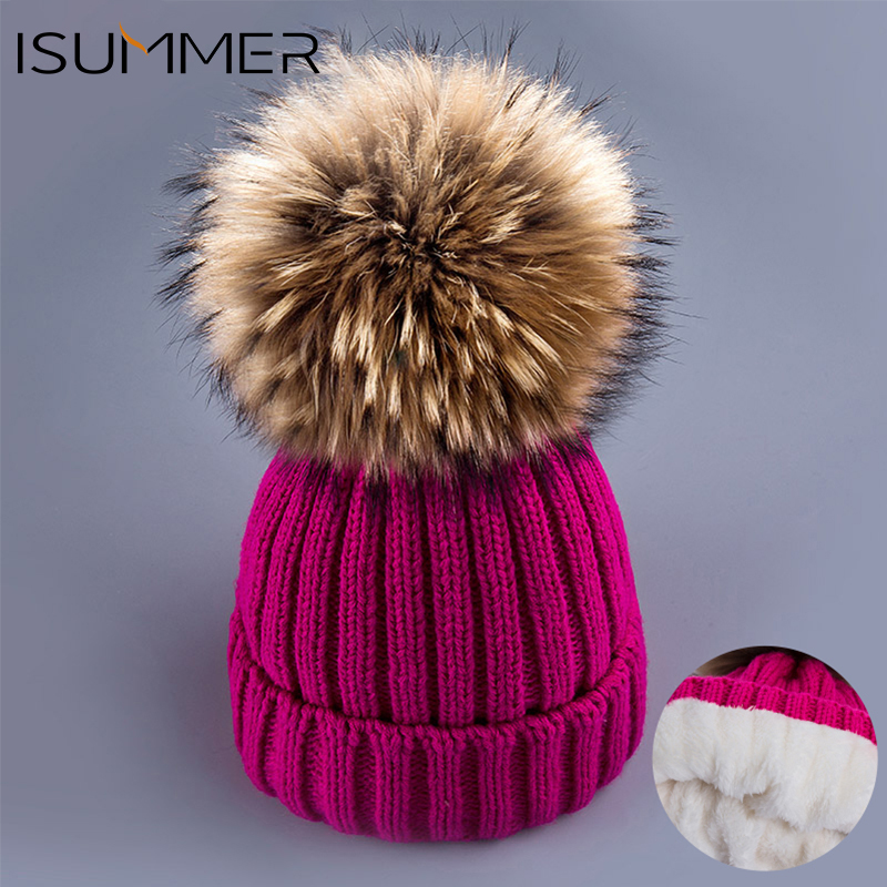 ISummer Girls Knitted Poms Winter Beanies Cap Female Hat