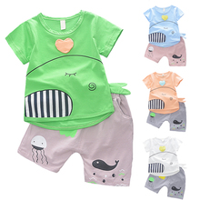 2016 New Fashion Kids Clothes Boys Summer Set Print Shirt + Short Pants Baby Boy Clothing Toddler