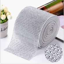 4CM*2M 1 roll Bling Diamond mesh Wrap ribbon silver Rhinestone Mesh Roll Tape Tulle Crystal Ribbon cake wedding decoration(China)