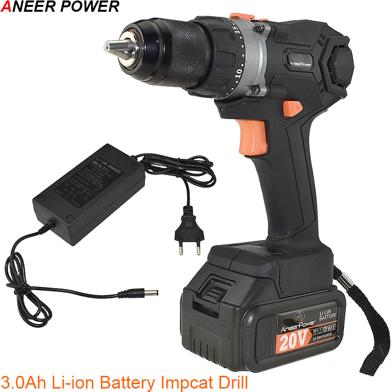 Brushless 20V Impact Screwdriver 3 0 2 0Ah Battery Capacity Hand Drill Cordless Drill Power Tools