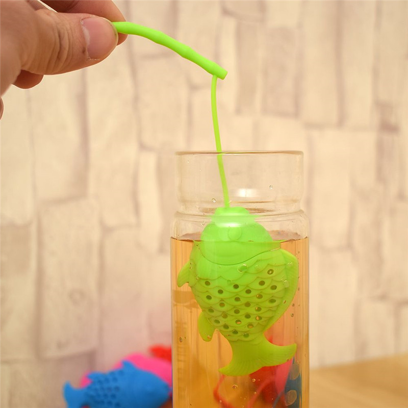 Lovely Fish Shape Silicone Tea Infuser Resuable Tea Leaf Strainer Durable  Tea Ball Herbal Spice Filter BPA Free Drop Shipping