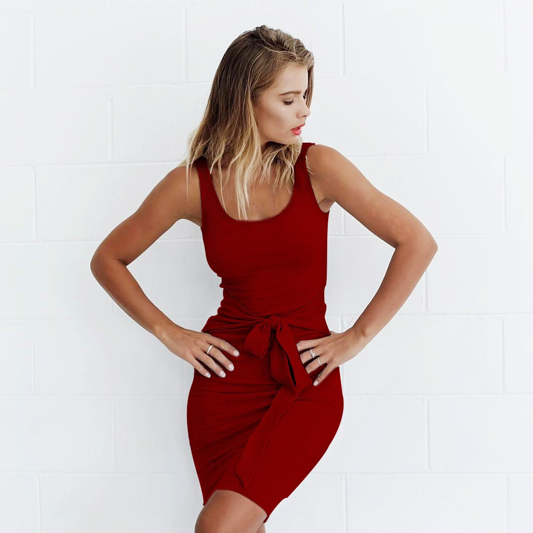2019 New Sexy Sleeveless Empire Summer Straps Dress Casual Women Solid Sashes Bandage Mini Party Dress Female Sheath Dresses in Dresses from Women 39 s Clothing