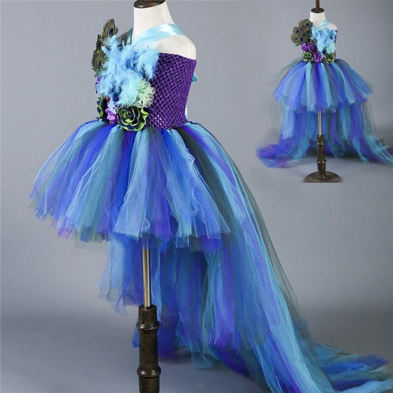 1-14Y princesse filles paon Tutu robe enfants fille fête d'anniversaire robe Train Pageant robes de bal pour enfants Tulle fille robes