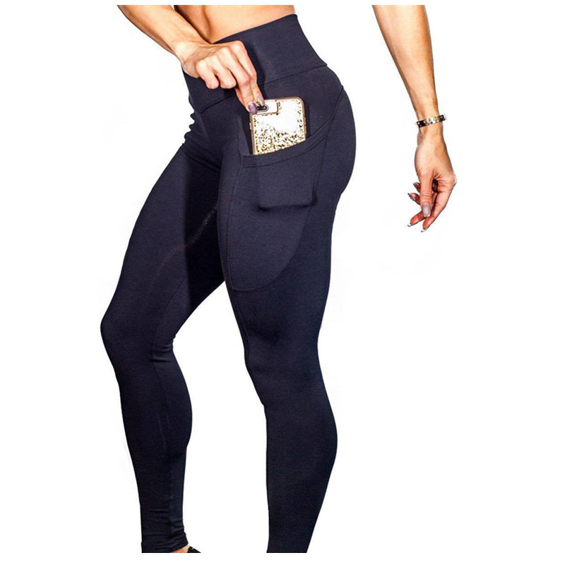 Women Side Pockets Leggings Polyester Solid High Waist Trousers Elasticity Work Out Ladys Fitness Legging Push Up leggins ...