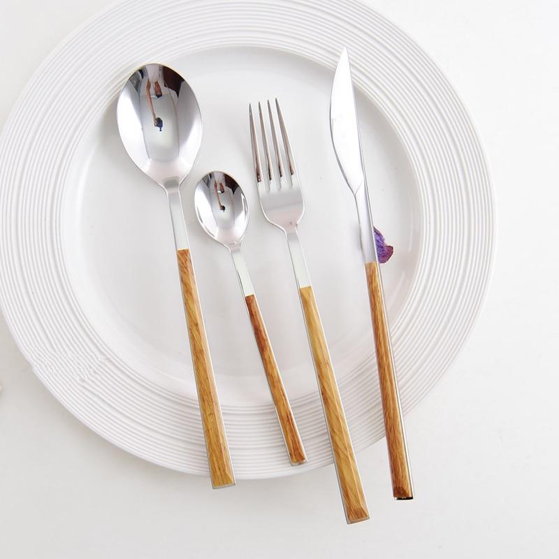 KuBac HomMi 24 PCS dinnerware set Wooden stainless steel Dinner knife fork teaspoon cutlery set ABS