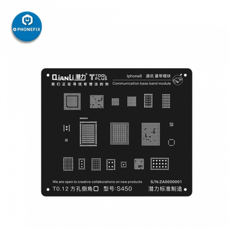 ToolPlus QianLi IBlack 3D BGA Reballing Stencil For IPhone 6 7 8 X Communication BaseBand Module Repair
