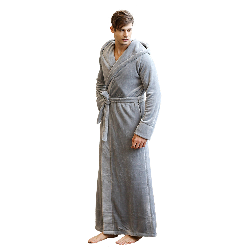 f0ebbe92f4 Men s Long Robe Microfleece Flannel Ultra Long Floor Length Big Size Hooded  Sleepwear Robes Bathrobe Lounge Wear Nightwear-in Robes from Underwear ...