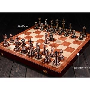 Image 4 - מתכת שחמט סט בדרגה גבוהה מתנת נסיעות בינלאומי שחמט משחק מתקפל עץ עובש לוח שחמט Kirsite שחמט חתיכות צ סמן I60