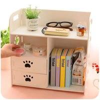 DIY контейнеры для рабочего стола Шкаф Организатор Белый деревянный коробка для хранения книга журнал стойки офиса