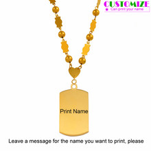 Anniyo Personalized Name Pendant Beads Necklaces Marshall Islands Jewelry Micronesia Customize Print Name Ball Chain #053621(China)