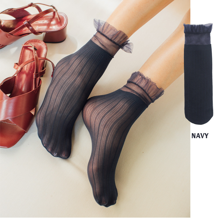 SP CITY 2019 Spring New Transparent Summer Thin Lace Socks Women Hollow Out Sexy Short Ruffle Socks Female Hipster Vintage Socks in Socks from Underwear Sleepwears