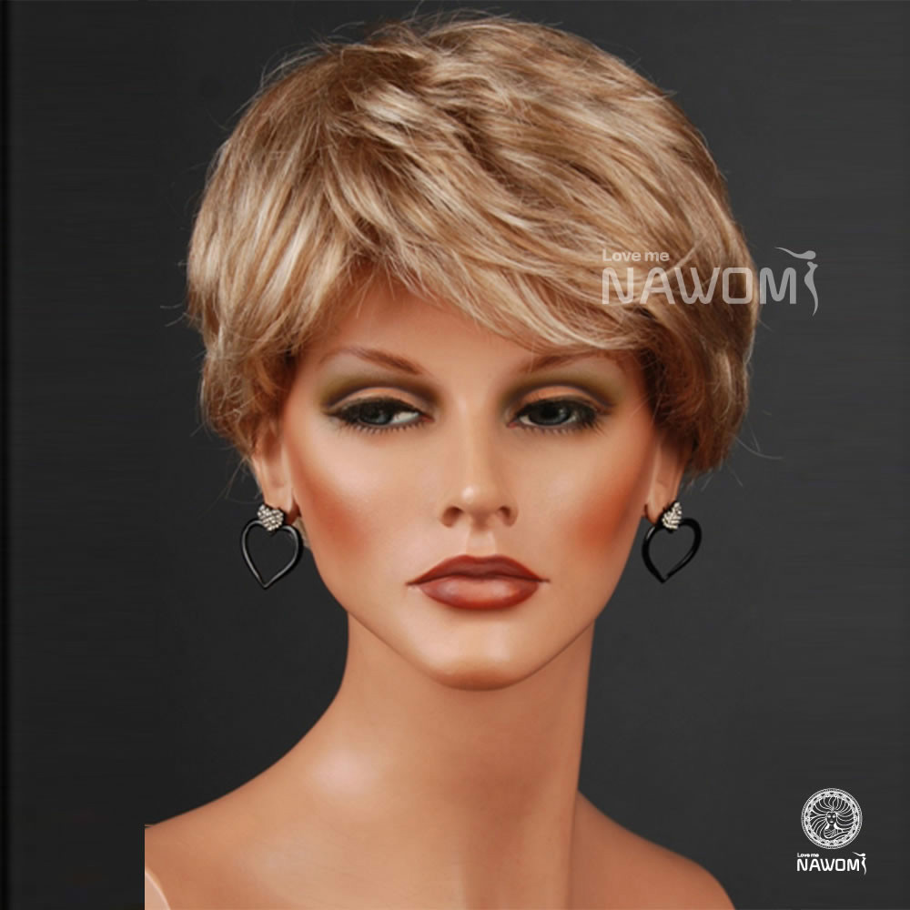Women Nice ash blonde color wig short curly Brown roots with pale ...