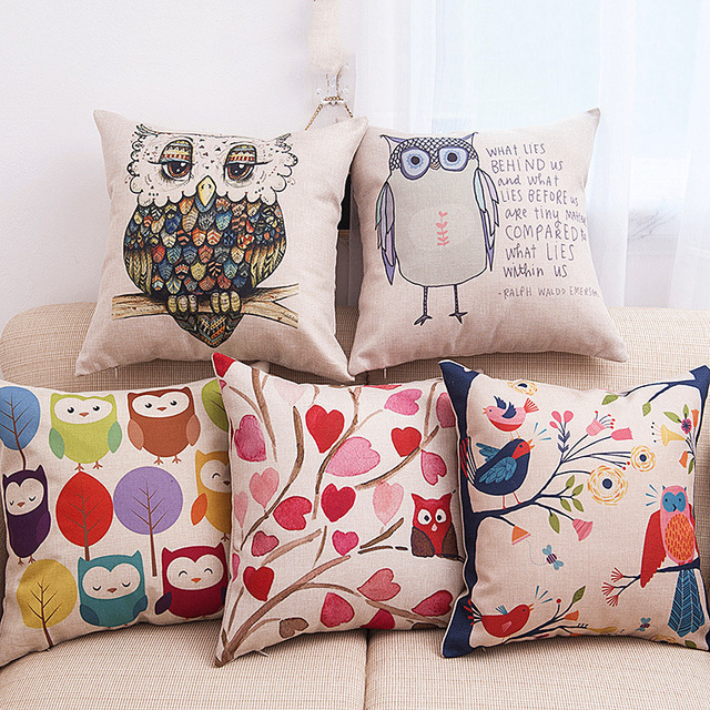 owl pillowcase printed decorative pillow cover living room pillow