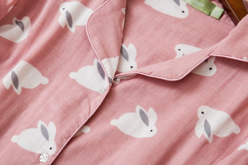 Image 4 - Female cute rabbit 100% cotton pajamas sets sexy gauze cotton pink plus size pyjamas women sleepwear sexi pijamas feminino-in Pajama Sets from Underwear & Sleepwears
