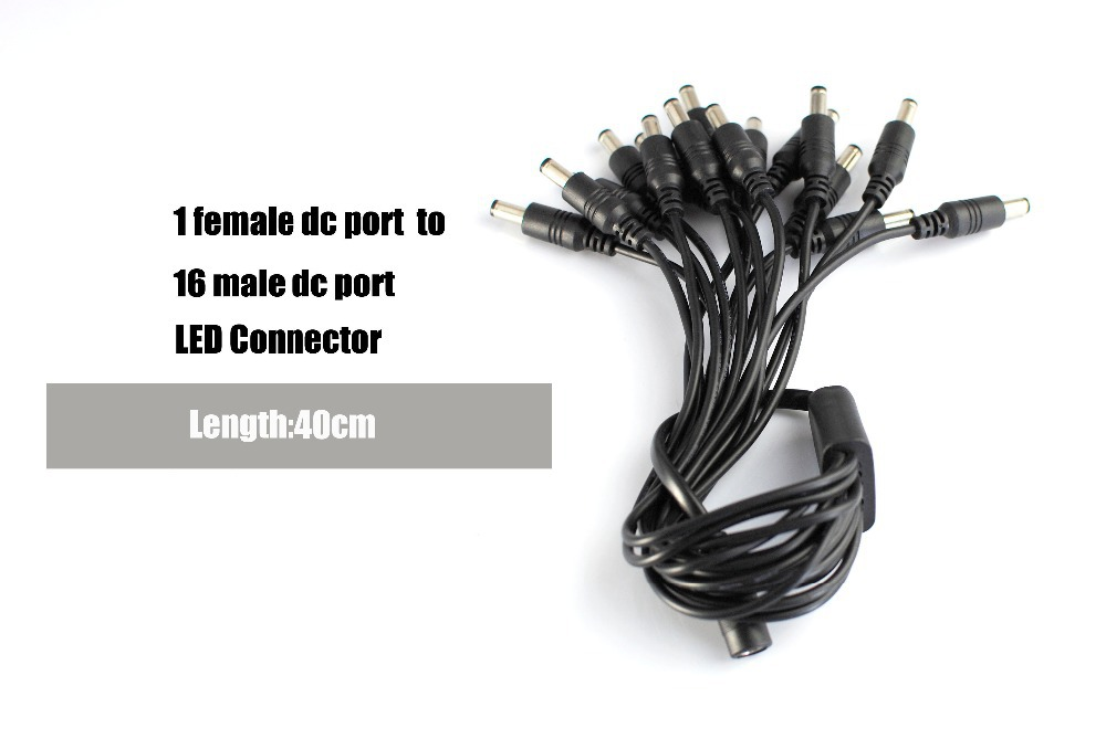 DC 1 Female to 16 Male Power Splitter CCTV Security System Camera plug Adapter Cable Connector Jack