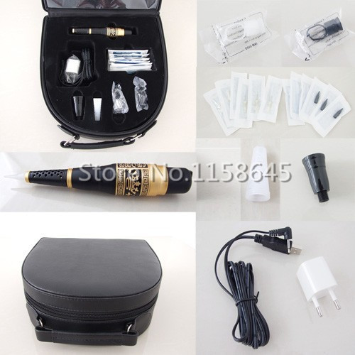 1 Sets High Quality Professional Permanent Makeup Kit Tattoo Machine Pen For Eyebrow Lips + Needles Tips Case Cosmetic Supply #p professional permanent makeup tattoo eyebrow pen machine 50 needles tips power supply set us plug drop shipping wholesale
