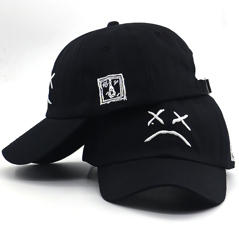 2019 new sad boy bone baseball cap embroidery cotton sad face hip hop dad hat women men summer funny snapback hat for travel(China)