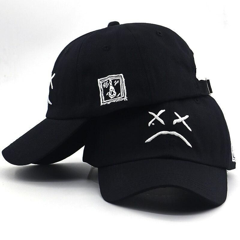 2019 new sad boy bone   baseball     cap   embroidery cotton sad face hip hop dad hat women men summer funny snapback hat for travel