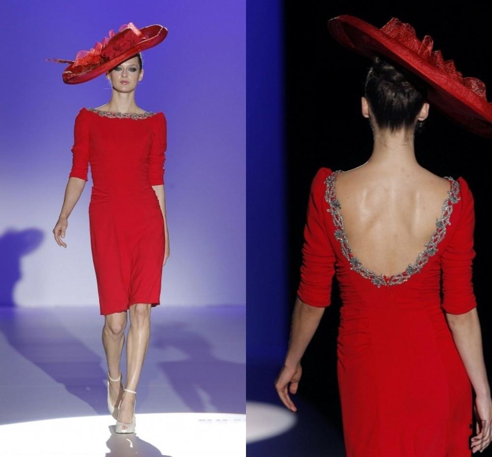 Entrega rápida Red vaina vestido de cóctel corto festoneado sin ...