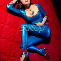 sext latex handmade catsuit blue rubber teddies body suit for woman