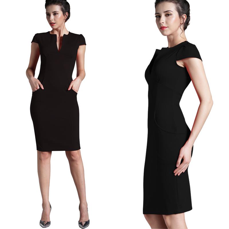 Nice-forever Office Women Vintage Summer Solid Deep V neck Zipper Back Formal Stretch Pencil work Bodycon Pocket Dress 521 8