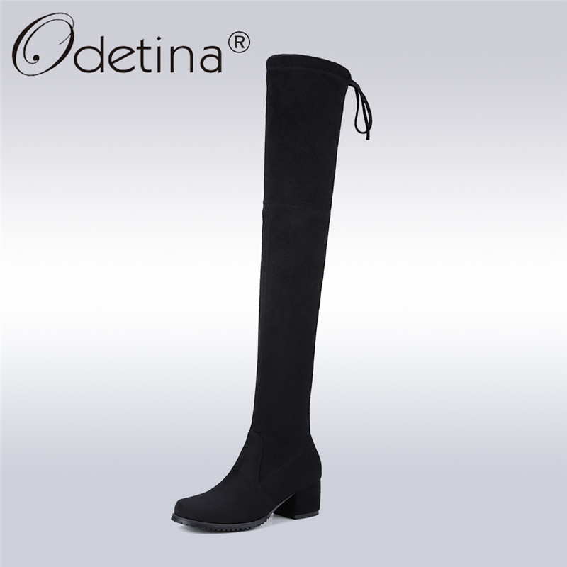 Odetina 2017 New Sexy Women Faux Suede Over The Knee Boots Chunky Mid Heel Lace Up Stretch Slim Thigh High Boots Big Size 34-43