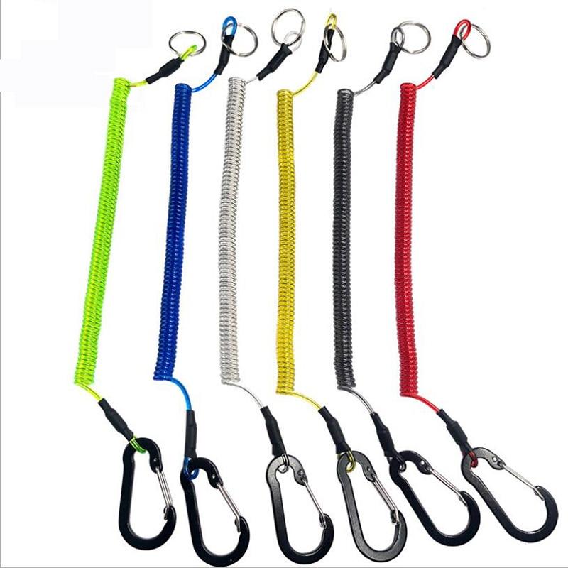 Mosquetão anti-perda corda subalicate, controle de peixe, fivela, 6 cores, forte cordão