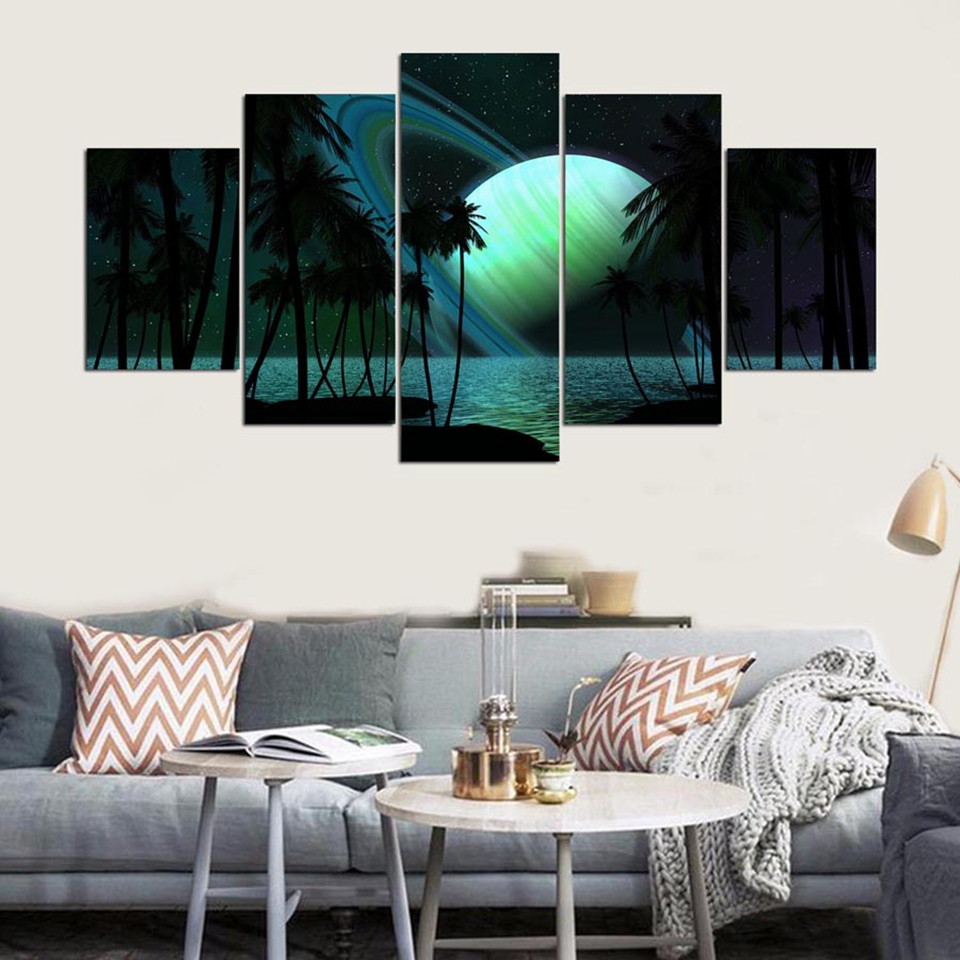 Modern Home Wall Art Decor Frame Modular Pictures 5 Pieces Palm Trees Sky Planets Abstract Landscape HD Printed Canvas Paintings