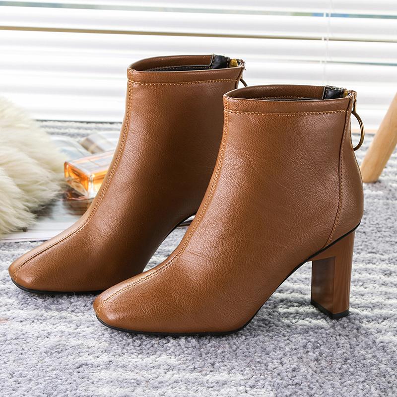 Kjstyrka Classic Thick Heel Women Ankle Boots 2018 Autumn Winter Lady High Heel Black Brown Leather Boots Warm Plush Booties Zip basic 2018 women thick heel ankle boots black pu fleeces round toe work shoe red heel winter spring lady super high heel boots