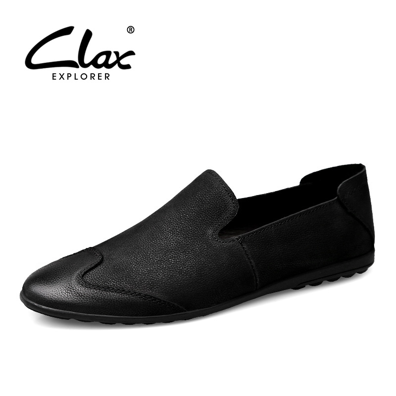 CLAX Men Loafers Genuine Leather 2018 Spring Summer Man Shoe Slip ons Black Flats Casual Footwear Leisure Boat Shoe Moccasin the imported oil wax pattern leather singel shoulder satchel small men s messager bag retro 7 inch for outdoor tourism