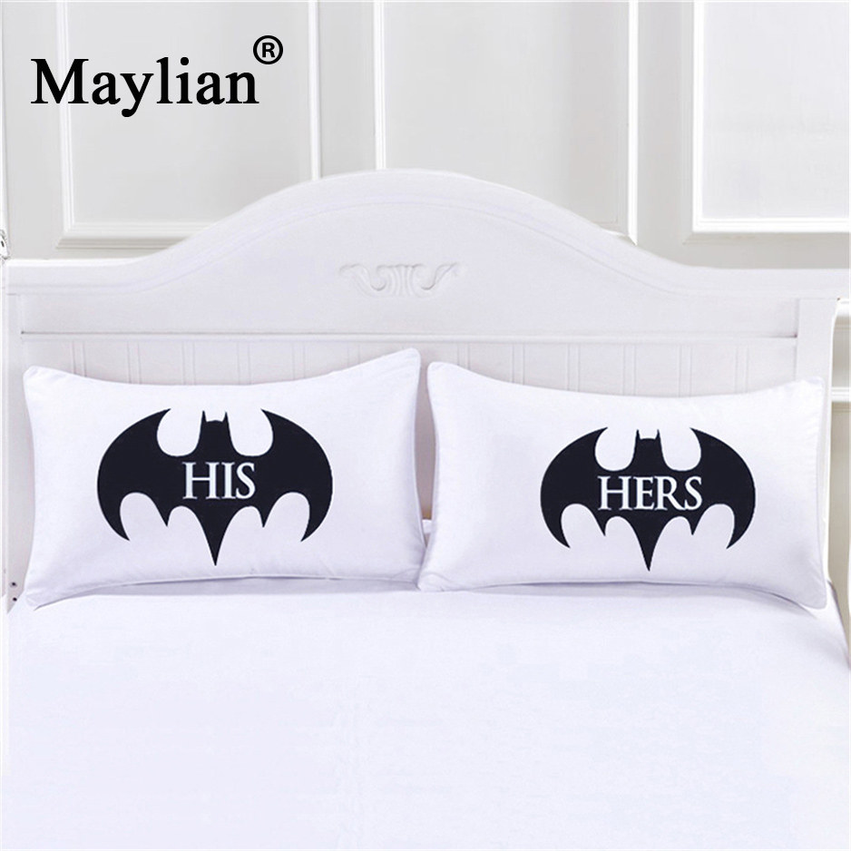 Batman His and Hers Praise Cases Couple Arrow Pillowcases Back and White Pillow Cover For Anniversary Wedding Gift Pair PC124