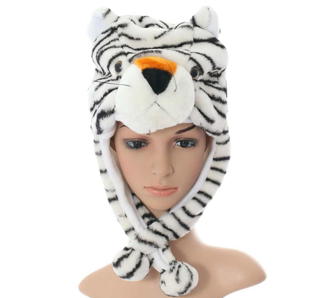 DOUBCHOW Cute Plush Earflap White Tiger Animal Hats Adults Womens Mens Teenagers Kids Boys Girls Winter CosplayWarm Beanie Cap