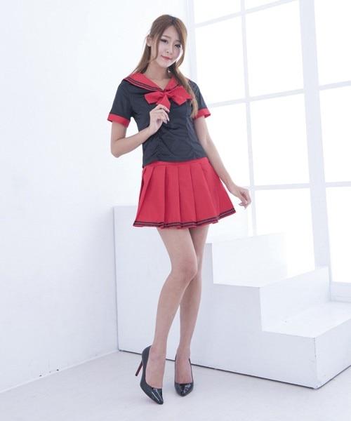 Sexy Lingerie Plus Size Xxl Sexy Cosplay School Girls Black Red Uniform Student Baby -3919
