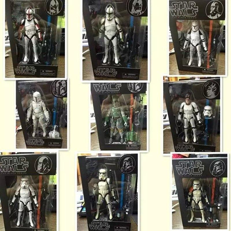 9style Star Wars Figures Toy The Black Series 15CM Boba Fett Stormtrooper Sandtrooper Clone Trooper Captain PVC Action Figure