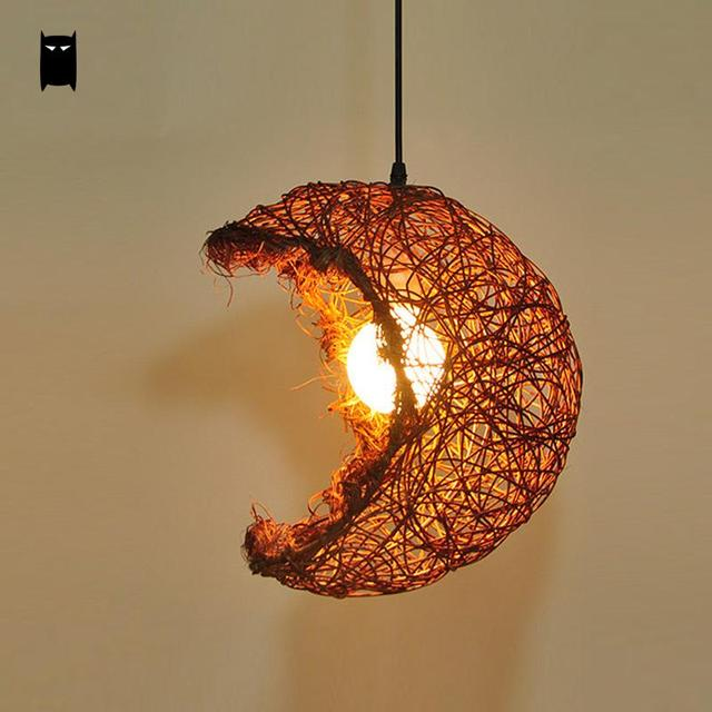 beige brown wicker rattan shade moon pendant light fixture rustic