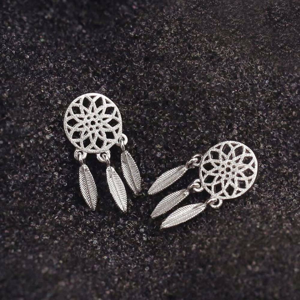 Fashion Silver Bohemia Nationality Indian Feather Dream Catcher  Dreamcatcher Stud Earrings For Women Fine Jewelry(