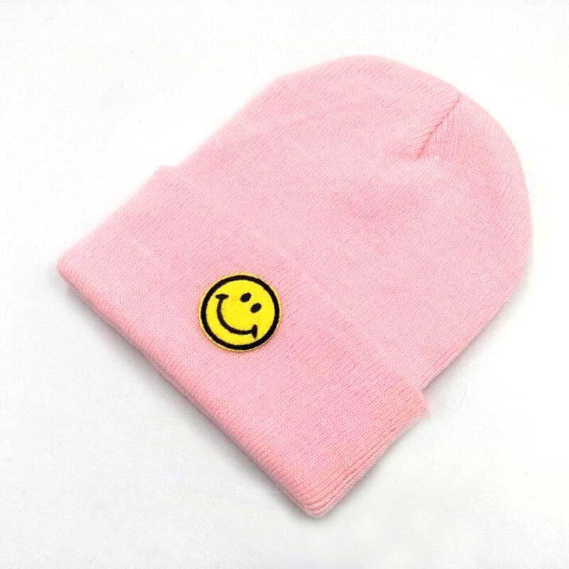 Lovely Smiling Face Patch Children Knitted Caps Autumn Winter Brand   Skullies     Beanies   Kids Pompom Woolen Yarn Parent-child Hats