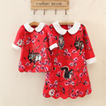 2016 European style Red Cotton flower Printing three Quarter Knee-Length Matching Mother Daughter Dresses Family Clothing