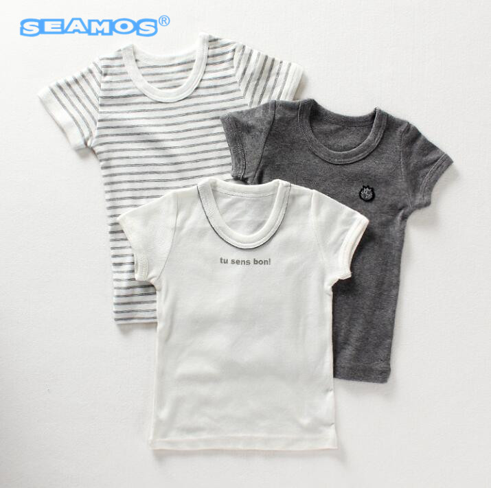 3pcs Lot new boys summer clothes baby T-shirt half sleeve shirt white solid gray stripe 1-7 years old XS34 stylish jewel neck half sleeve puppy print women s t shirt