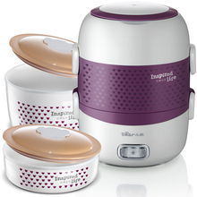 Bear Portable Electric Heating Lunch Box Ceramic Inner Container Rice Cooker  Double Layer Can Insert  Healthy Food Warmer